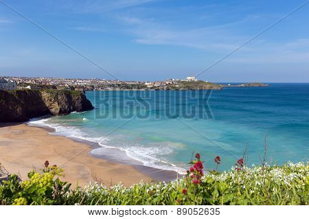 Tolcarne beach Newquay North Cornwall UK by Narrowcliffe in spring with blue sky and sea