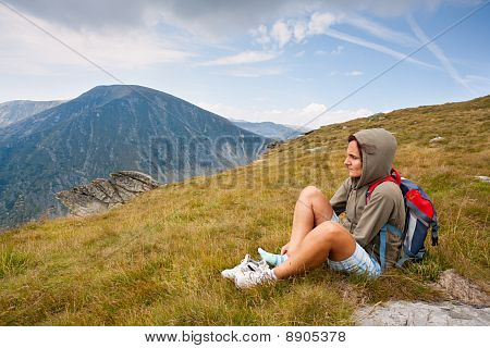 Pretty Woman In An Alpine Landscape