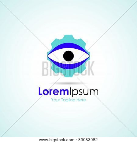Wheel gear watching eye simple business icon logo