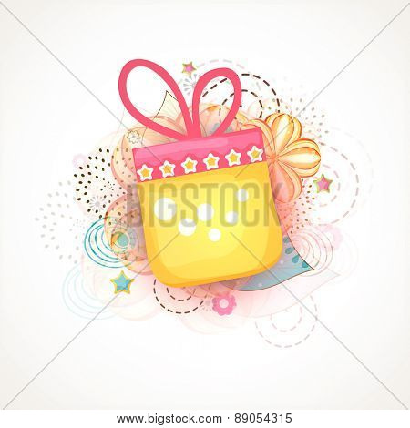 Muslim community festival, Eid Mubarak celebration with shiny gift box on floral design decorated background.