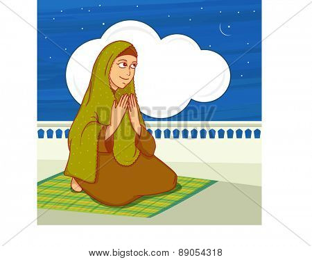 Islamic month of prayer, Ramadan Kareem celebration with young Muslim lady offering Namaz (Islamic Prayer) in night.