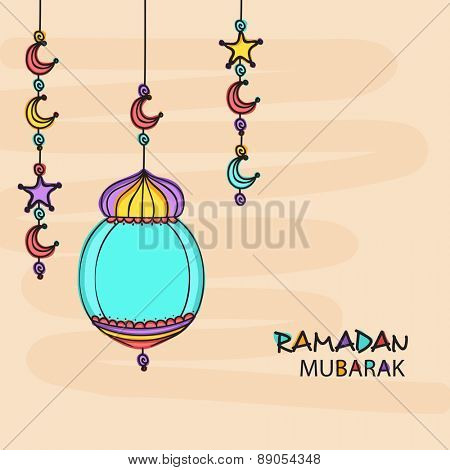 Holy month of muslim community, Ramadan Kareem celebration greeting card with colorful arabic lamp, moon and stars.