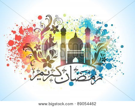 Arabic calligraphy of text Ramazan Kareem (Ramadan Kareem) with floral design decorated Mosque on colorful splash background for Muslim Community festival celebration.