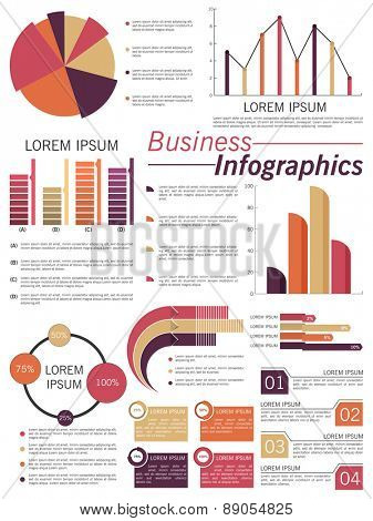 Big set of business infographic elements include pie chart, statistical bar and graph.