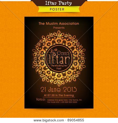 Beautiful floral design decorated invitation card for holy month of Muslim community Ramadan Kareem Iftar party celebration.
