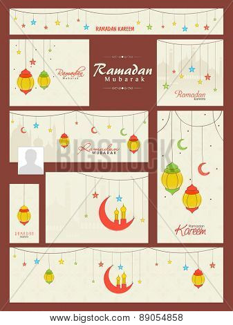 Colorful social media and marketing headers, banners, ads or posts for holy month of muslim community, Ramadan Kareem celebration.