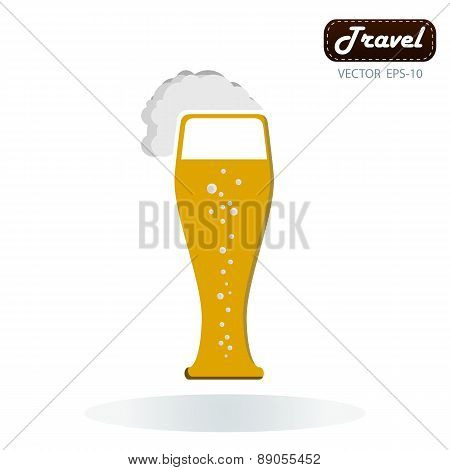 Frothy Tankard Of Golden Beer With A Good Head Of Froth Overflowing The Glass