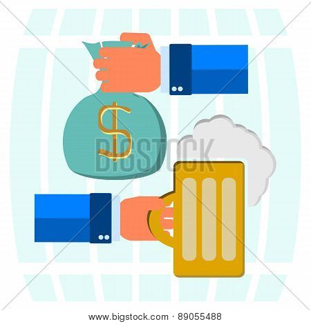 Money Bag For Beer, Mug Of Beer With Foam Head In His Hand On A Background Of Beer Barrels