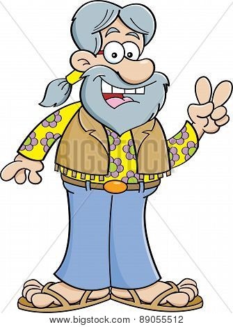 Cartoon old hippie.