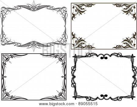 Set of 4 vintage retro frames. Vector illustration.