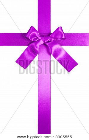 Purple Vertical Cross Ribbon With Bow Isolated