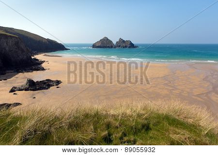 Holywell Bay Cornwall England UK near Newquay and Crantock in spring with blue sea and sky