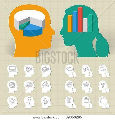 Thinking Head Icons.Vector