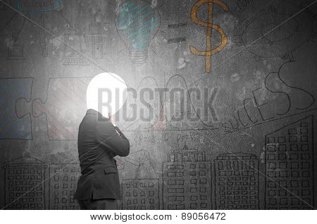 Thinking Businessman With Lamp Head Illuminated Dark Business Doodles Wall