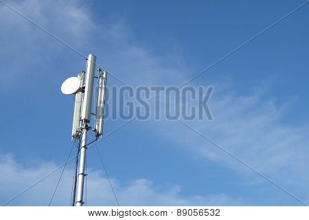 telephone and communication systems pole on blue sky