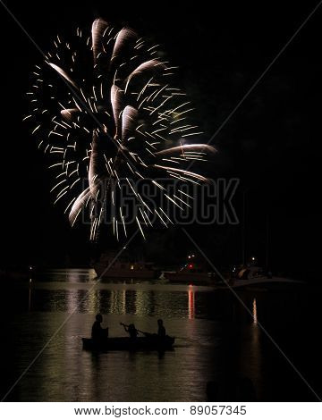 Canoe Under Fireworks