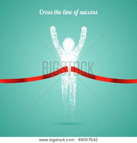 Successful man figure from triangular particles. Winner sign