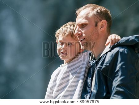 Father And Little Son Outdoor Portrait