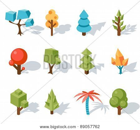Tree low poly icons, vector isometric 3D