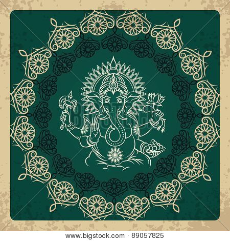 Indian god elephant Ganesha vintage card