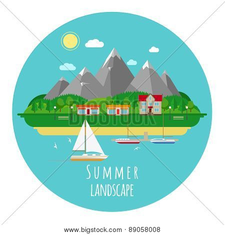 Flat summer landscape illustration with mountains and sea