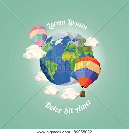 Low poly hot air balloon near earth with clouds. vector illustration