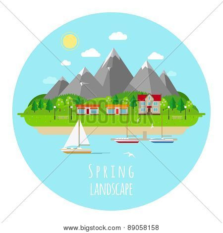 Flat spring landscape illustration with green hills
