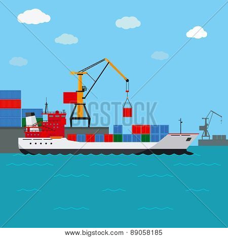 Cargo ship. Freight shipping by water