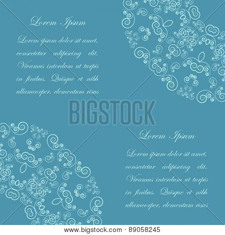 Blue background with vintage ornate pattern