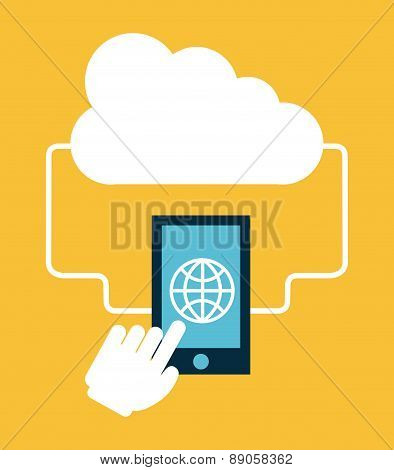cloud computing over yellow   background vector illustration