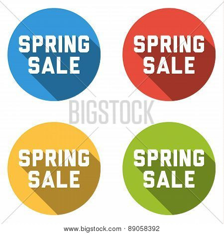 Colelction Of 4 Isolated Flat Buttons (icons) With Spring Sale