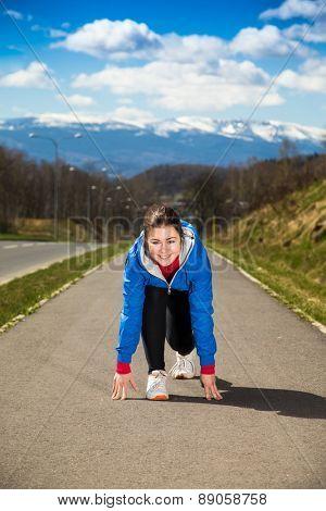 Woman ready to run