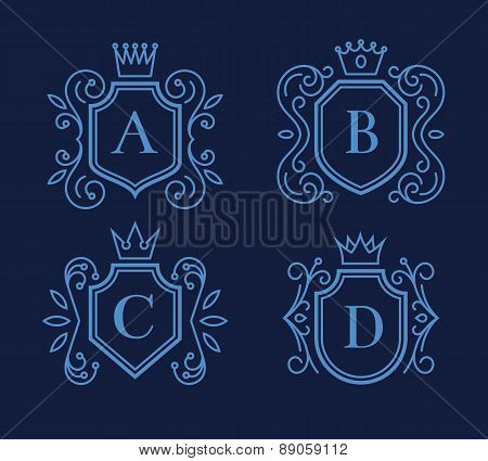 Logo or monogram design with shields and crowns