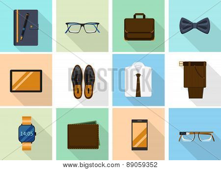 Businessman clothes and gadgets icons in flat style