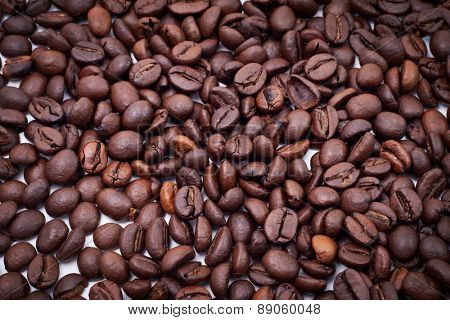 Roasted Coffee Seed Background Closeup