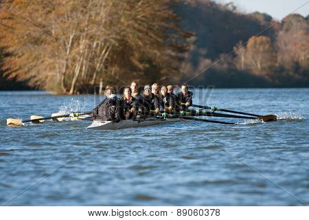 Women's College Crew Team Rows Along Atlanta River