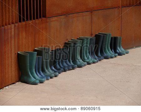 Rubber Boots In Formation