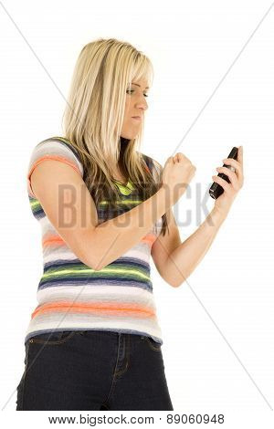 Woman In Colorful Shirt Punching Phone