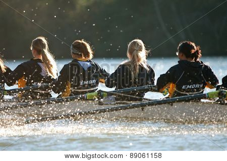 Women's College Crew Team Rows Down Atlanta's Chattahoochee River