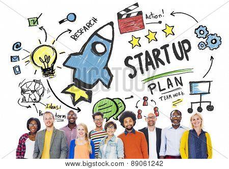Start Up Business Launch Success People Diversity Concept