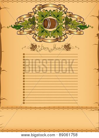 menu or background with grain, hop elements and barrel on vintage paper