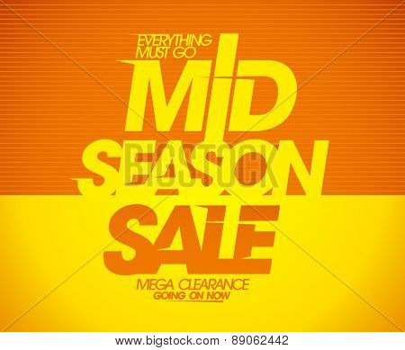 Mega mid season clearance sale coupon design.