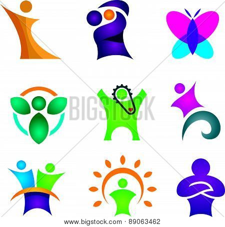 Happy creative & abstract people icon set for human success in reach for star