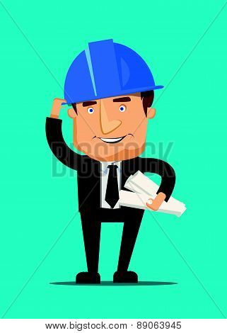 Chef construction engineer man and architect worker with ceo building blueprint and a helmet illustr