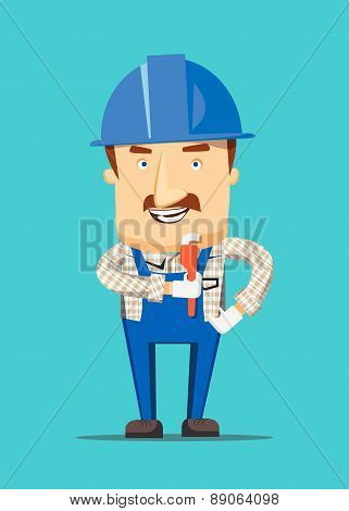 Construction engineer and human worker smiling on a job illustration