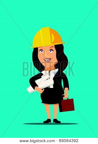 Architect female holding blueprint plans of construction site and building vector illustration