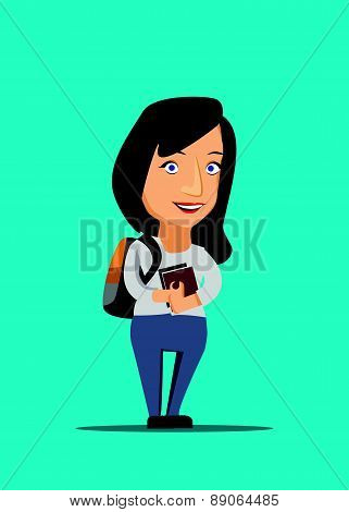 University student holding books with backpack vector illustration