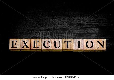 Word Execution Isolated On Black Background