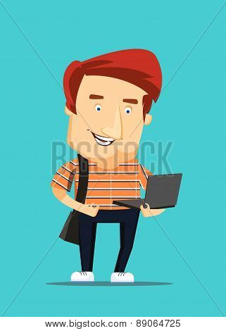 University college student looking at laptop computer vector illustration