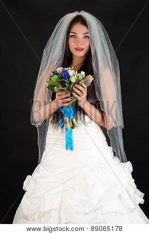 smiling woman in a wedding dress